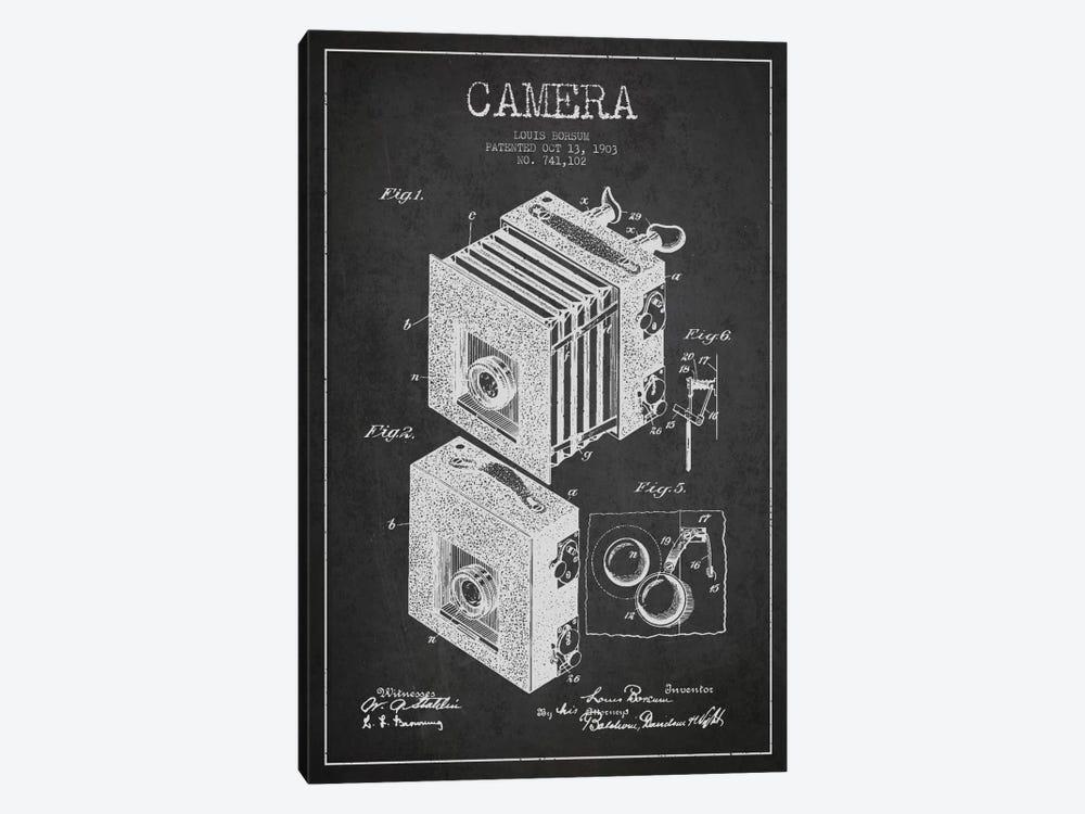 Camera Charcoal Patent Blueprint by Aged Pixel 1-piece Canvas Art Print