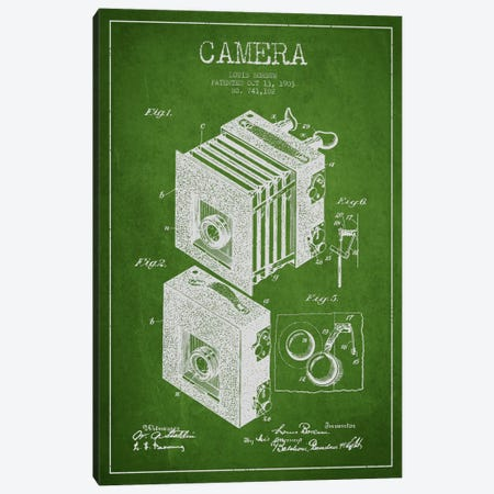 Camera Green Patent Blueprint Canvas Print #ADP442} by Aged Pixel Canvas Print
