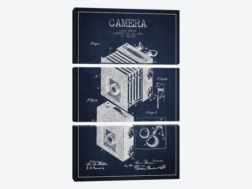 Camera Navy Blue Patent Blueprint by Aged Pixel 3-piece Canvas Print