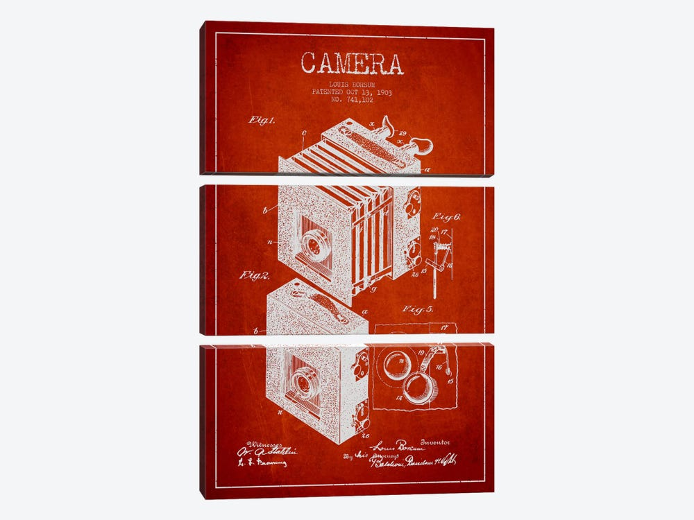 Camera Red Patent Blueprint by Aged Pixel 3-piece Canvas Wall Art