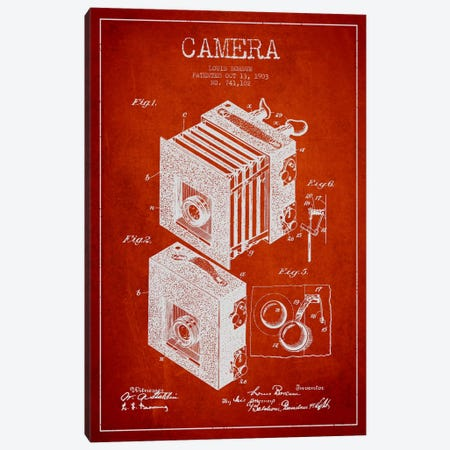 Camera Red Patent Blueprint Canvas Print #ADP444} by Aged Pixel Canvas Art