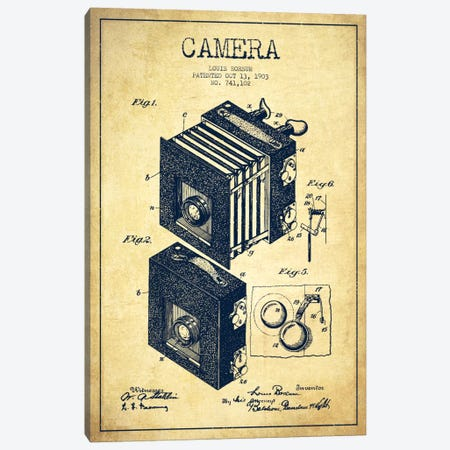 Camera Vintage Patent Blueprint Canvas Print #ADP445} by Aged Pixel Canvas Artwork