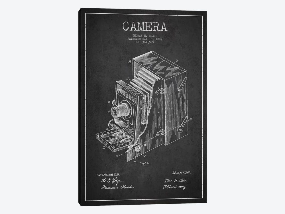 Camera Charcoal Patent Blueprint by Aged Pixel 1-piece Canvas Art