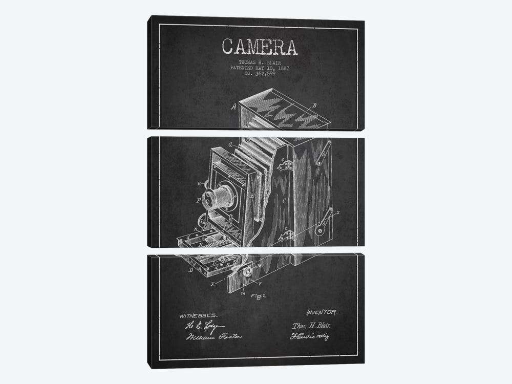 Camera Charcoal Patent Blueprint by Aged Pixel 3-piece Canvas Wall Art