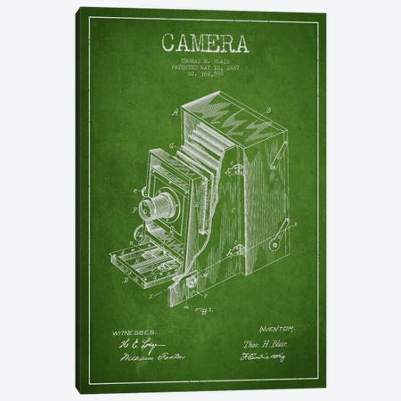 Camera Green Patent Blueprint Canvas Print #ADP447} by Aged Pixel Canvas Wall Art