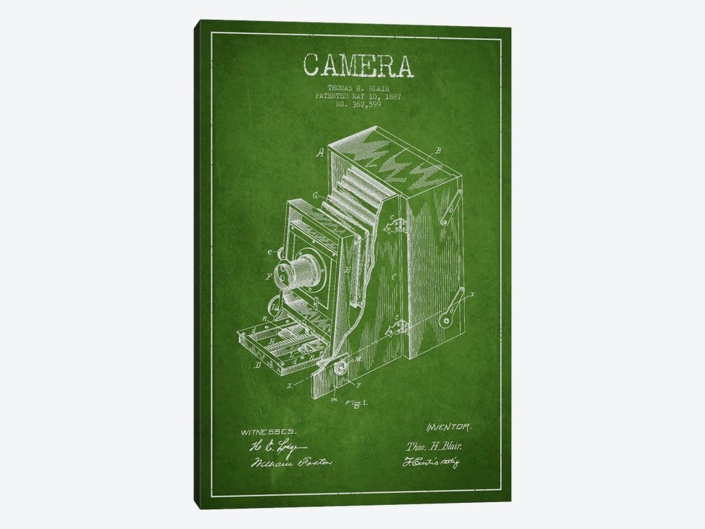 Camera Green Patent Blueprint by Aged Pixel 1-piece Canvas Print