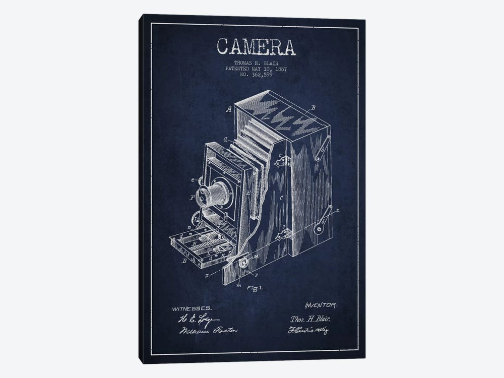 Camera Navy Blue Patent Blueprint by Aged Pixel 1-piece Canvas Wall Art