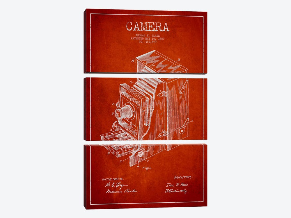Camera Red Patent Blueprint by Aged Pixel 3-piece Canvas Print
