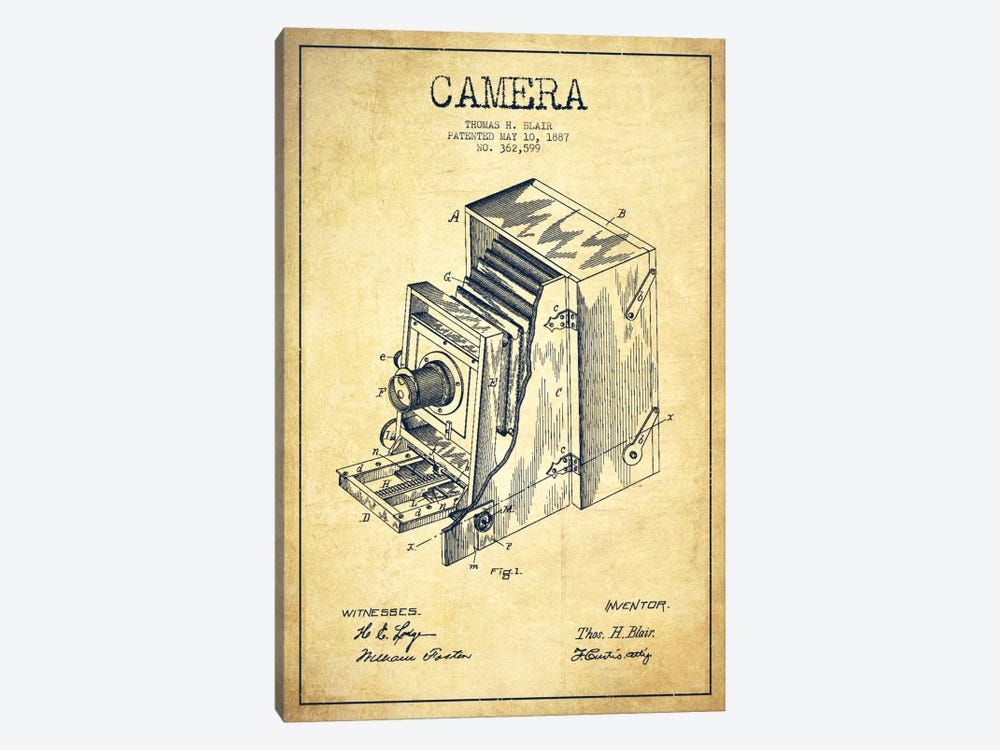 Camera Vintage Patent Blueprint by Aged Pixel 1-piece Canvas Print