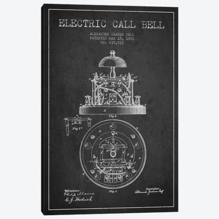 Electric Bell Charcoal Patent Blueprint Canvas Print #ADP451} by Aged Pixel Canvas Art