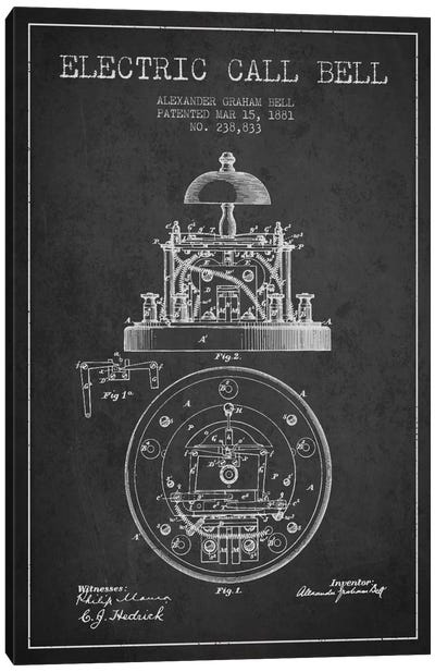 Electric Bell Charcoal Patent Blueprint Canvas Art Print
