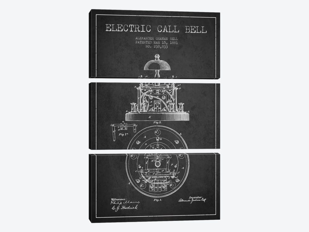Electric Bell Charcoal Patent Blueprint by Aged Pixel 3-piece Canvas Artwork