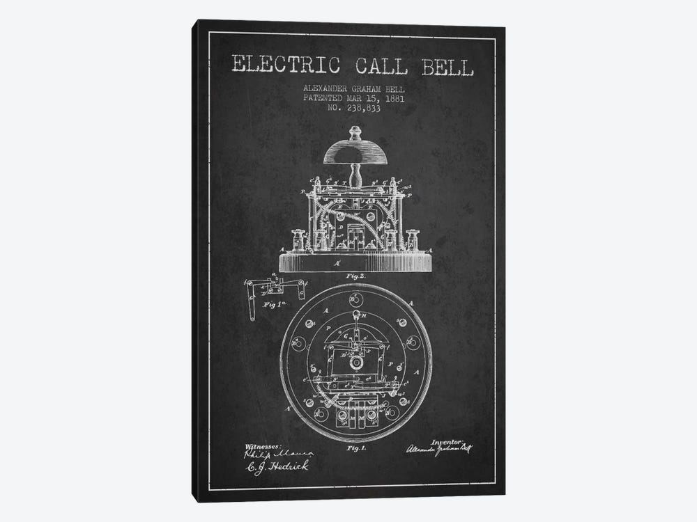 Electric Bell Charcoal Patent Blueprint by Aged Pixel 1-piece Canvas Wall Art