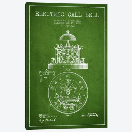 Electric Bell Green Patent Blueprint Canvas Print #ADP452} by Aged Pixel Canvas Art