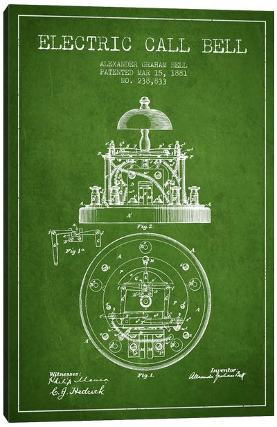 Electric Bell Green Patent Blueprint Canvas Art Print