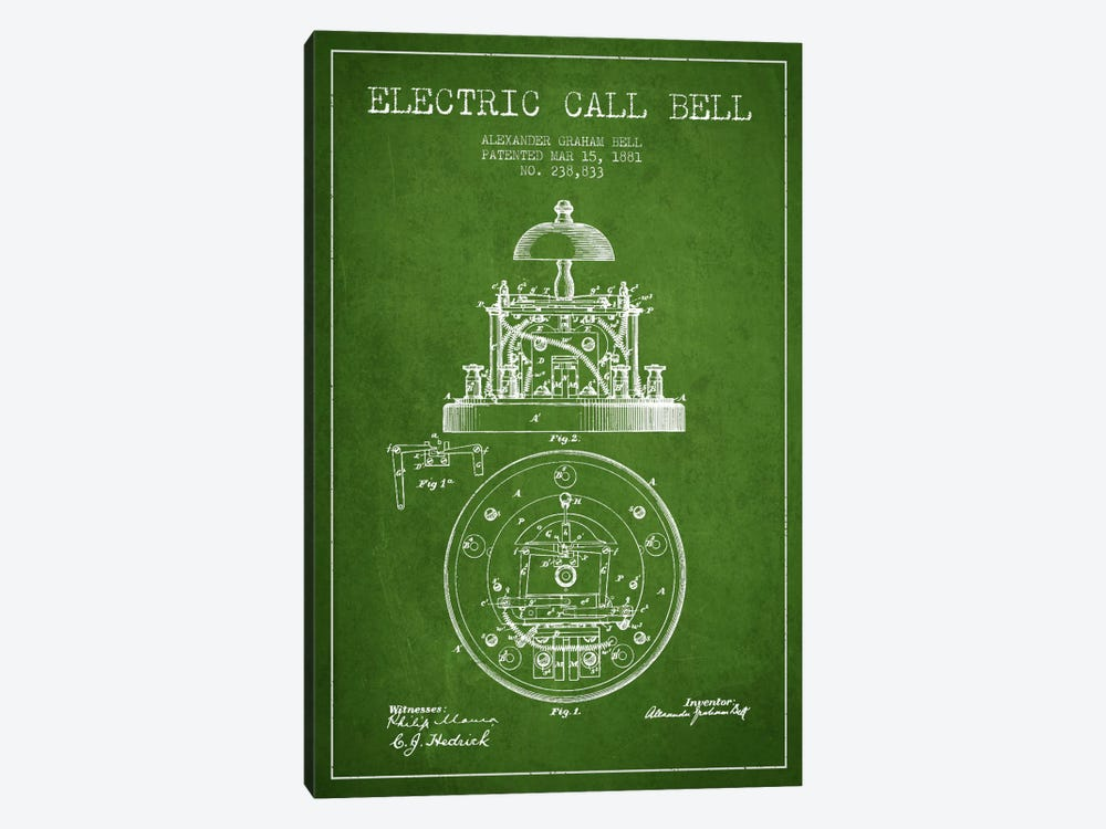 Electric Bell Green Patent Blueprint by Aged Pixel 1-piece Art Print