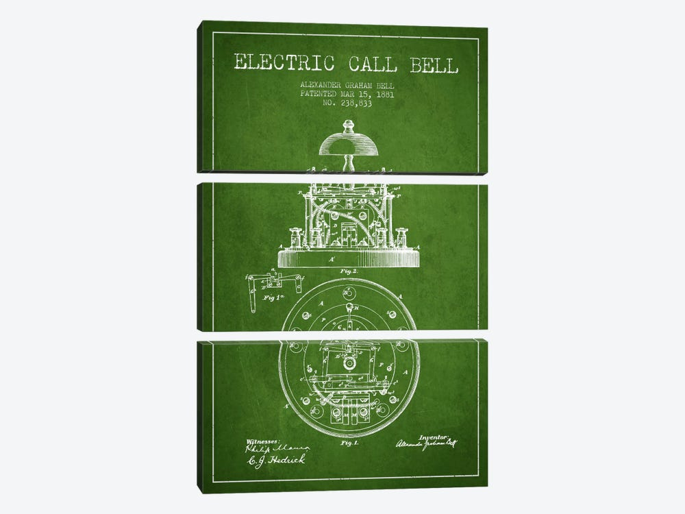 Electric Bell Green Patent Blueprint by Aged Pixel 3-piece Canvas Art Print