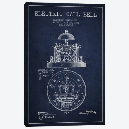 Electric Bell Navy Blue Patent Blueprint Canvas Print #ADP453} by Aged Pixel Canvas Art