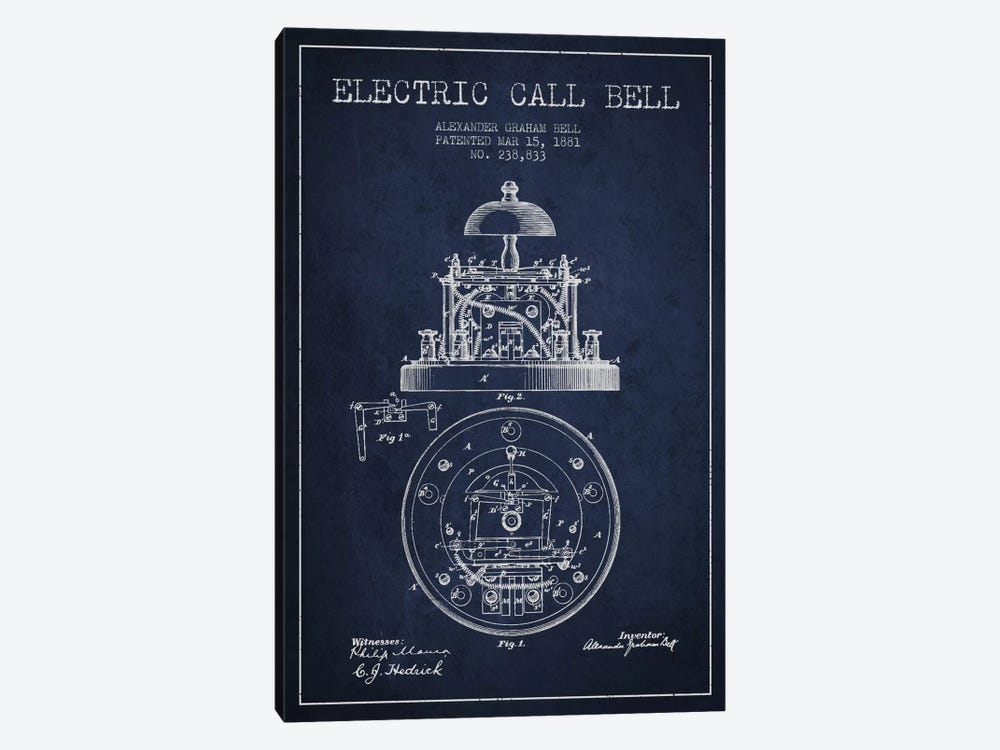 Electric Bell Navy Blue Patent Blueprint 1-piece Canvas Artwork