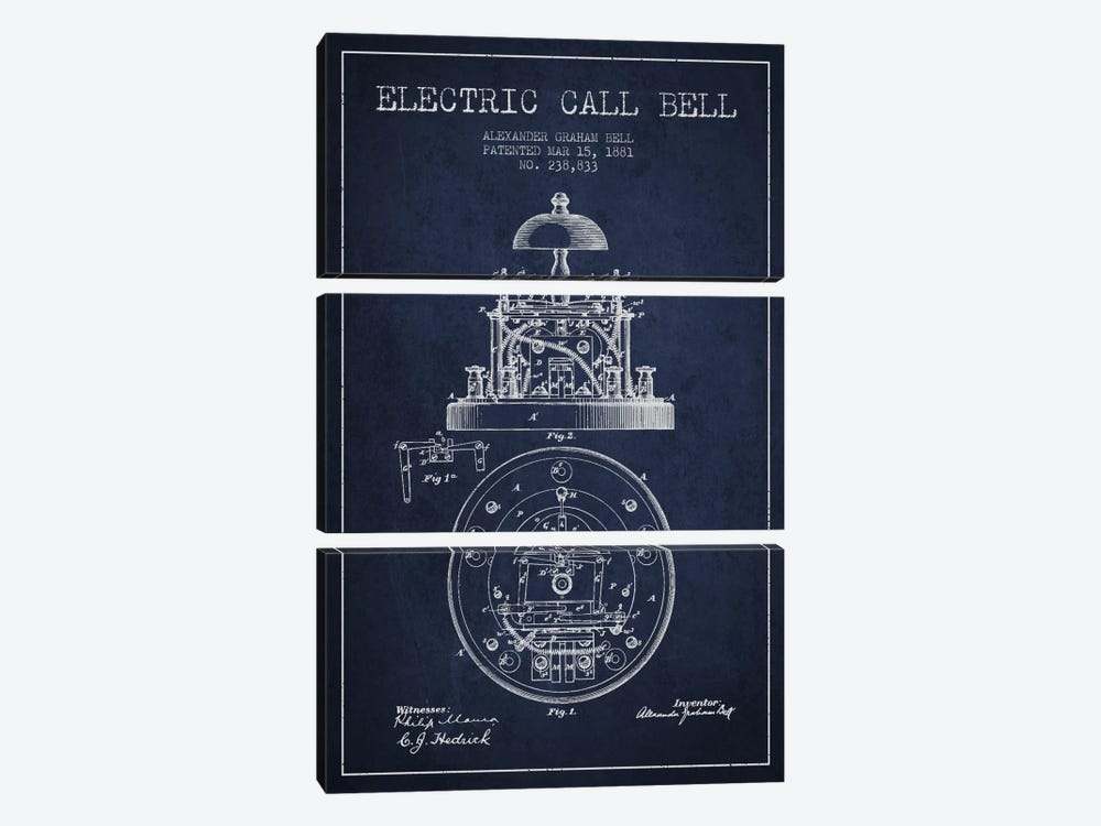 Electric Bell Navy Blue Patent Blueprint by Aged Pixel 3-piece Canvas Wall Art