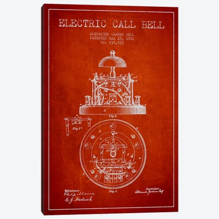 Electric Bell Red Patent Blueprint Canvas Print #ADP454} by Aged Pixel Canvas Art Print