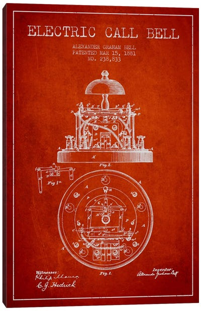 Electric Bell Red Patent Blueprint Canvas Art Print