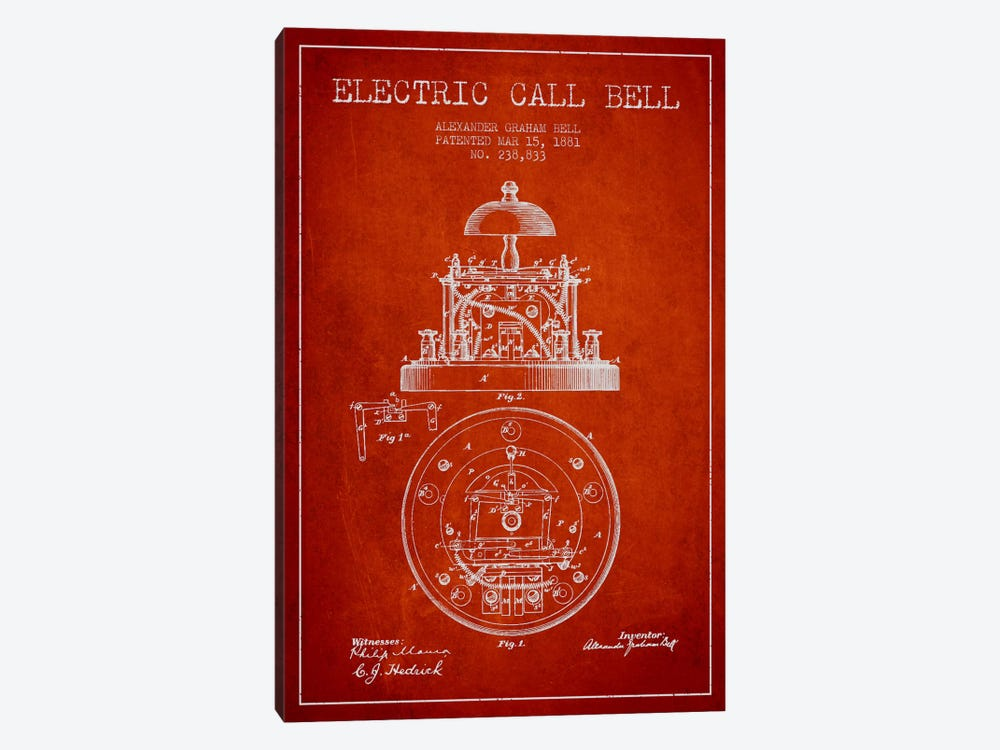 Electric Bell Red Patent Blueprint by Aged Pixel 1-piece Art Print
