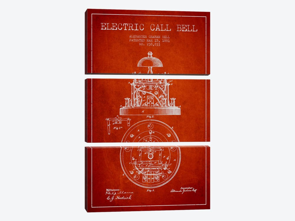 Electric Bell Red Patent Blueprint by Aged Pixel 3-piece Canvas Print