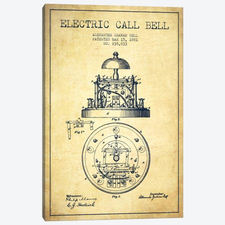 Electric Bell Vintage Patent Blueprint Canvas Print #ADP455} by Aged Pixel Canvas Print