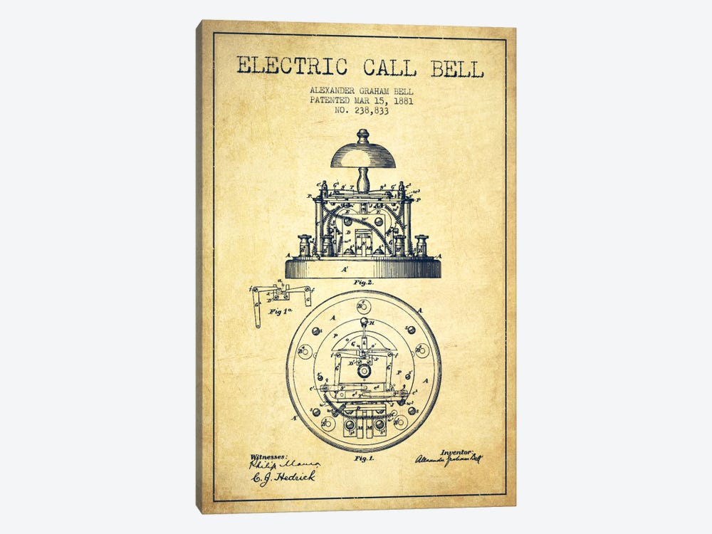Electric Bell Vintage Patent Blueprint by Aged Pixel 1-piece Canvas Wall Art