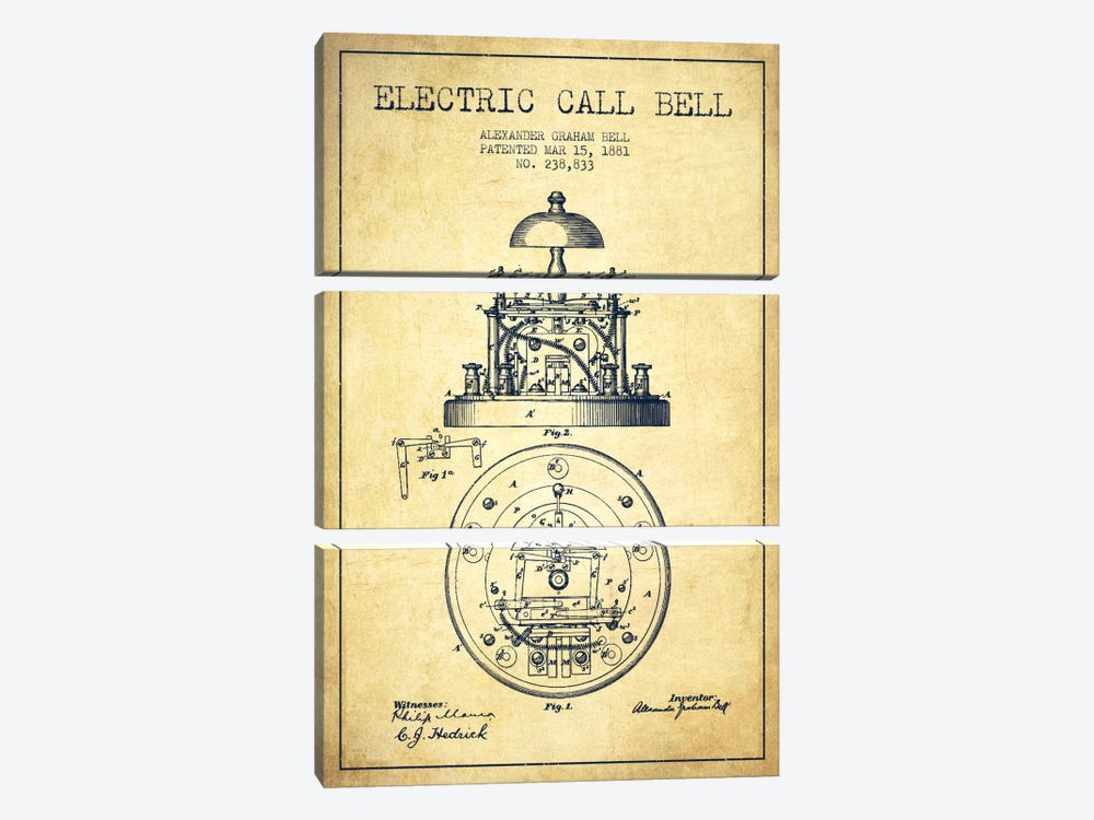 Electric Bell Vintage Patent Blueprint by Aged Pixel 3-piece Canvas Art