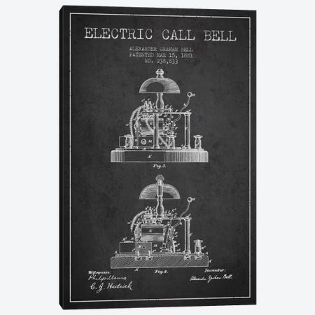 Electric Alex Bell Charcoal Patent Blueprint Canvas Print #ADP456} by Aged Pixel Art Print