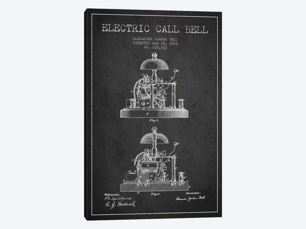 Electric Alex Bell Charcoal Patent Blueprint by Aged Pixel 1-piece Canvas Art Print
