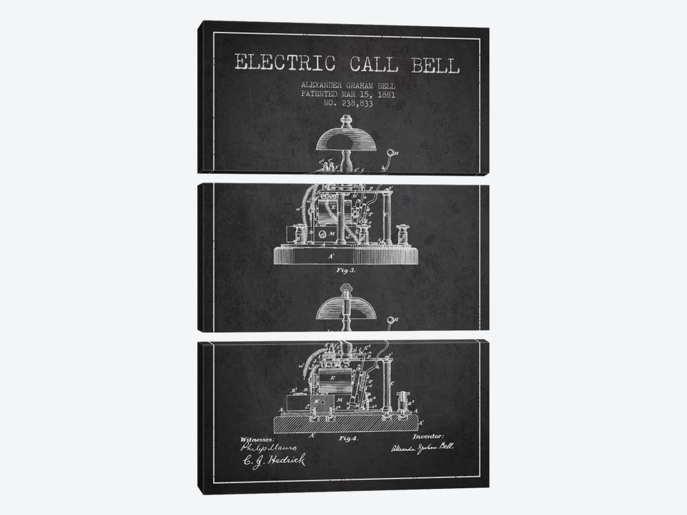Electric Alex Bell Charcoal Patent Blueprint by Aged Pixel 3-piece Art Print
