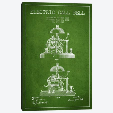 Electric Alex Bell Green Patent Blueprint Canvas Print #ADP457} by Aged Pixel Canvas Print