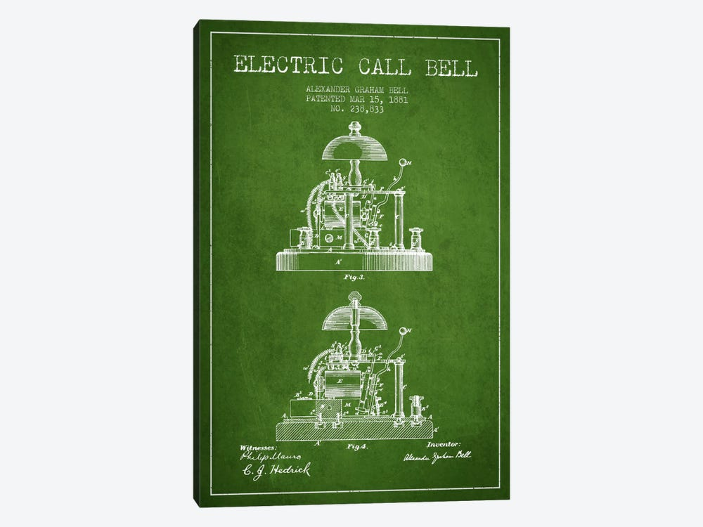 Electric Alex Bell Green Patent Blueprint by Aged Pixel 1-piece Canvas Artwork