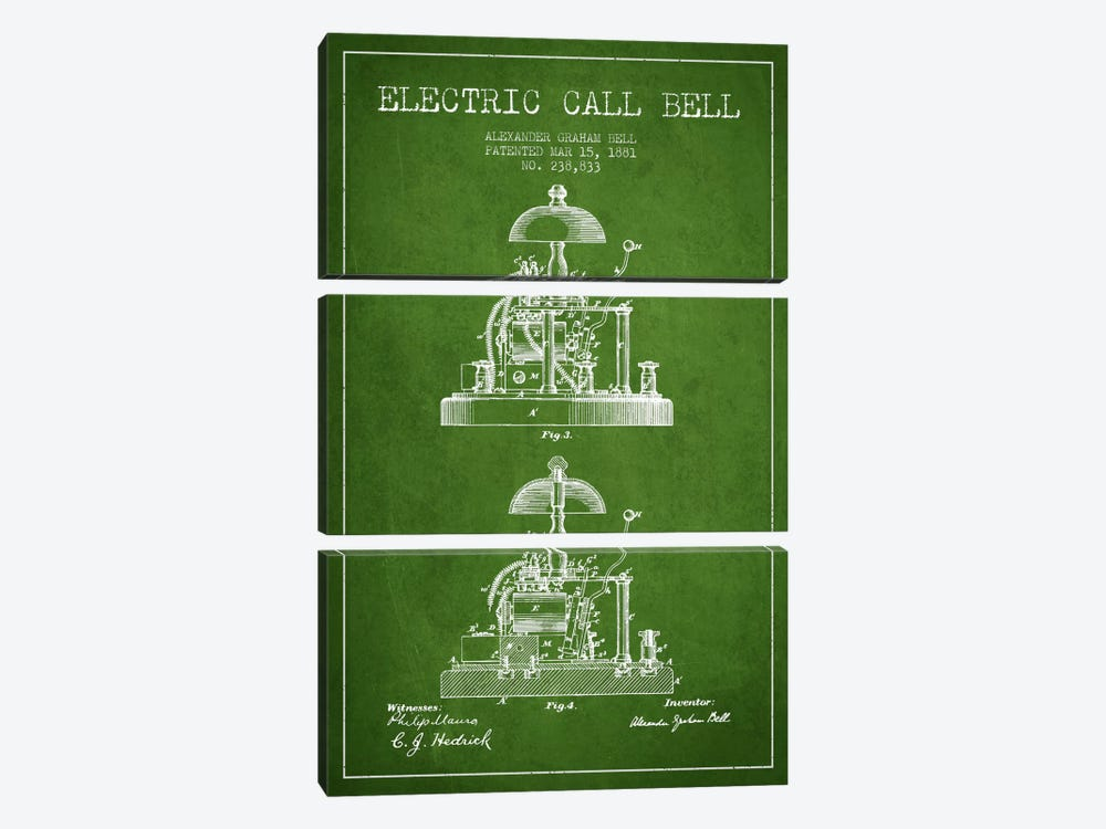 Electric Alex Bell Green Patent Blueprint 3-piece Canvas Wall Art