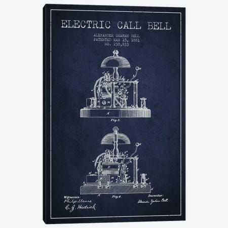 Electric Alex Bell Navy Blue Patent Blueprint Canvas Print #ADP458} by Aged Pixel Canvas Artwork