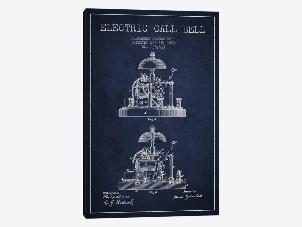 Electric Alex Bell Navy Blue Patent Blueprint by Aged Pixel 1-piece Art Print