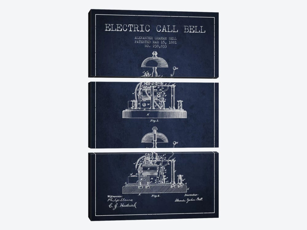 Electric Alex Bell Navy Blue Patent Blueprint by Aged Pixel 3-piece Canvas Print