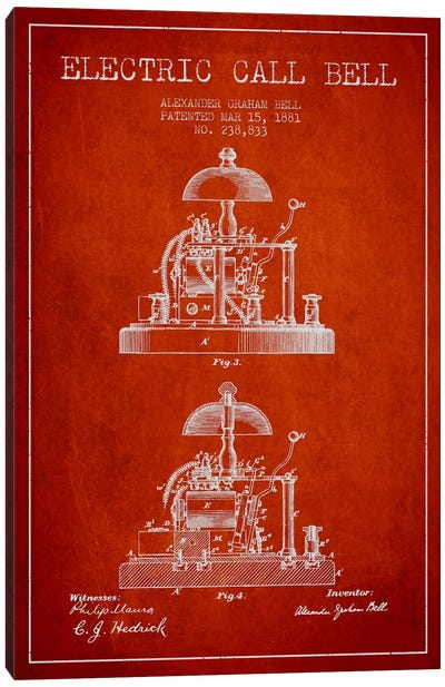 Electric Alex Bell Red Patent Blueprint Canvas Art Print