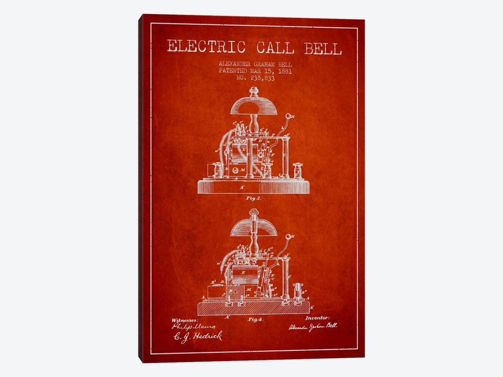 Electric Alex Bell Red Patent Blueprint by Aged Pixel 1-piece Canvas Art