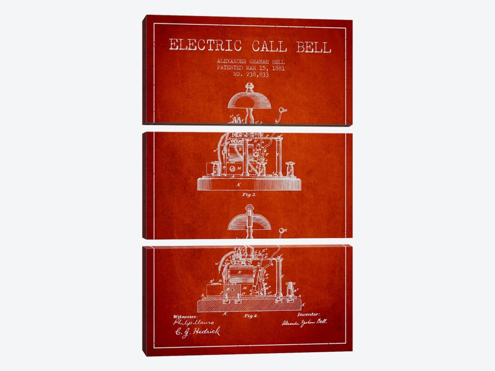 Electric Alex Bell Red Patent Blueprint by Aged Pixel 3-piece Canvas Art