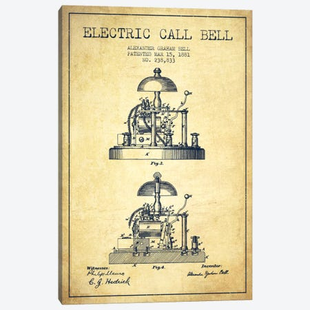 Electric Alex Bell Vintage Patent Blueprint Canvas Print #ADP460} by Aged Pixel Canvas Art Print