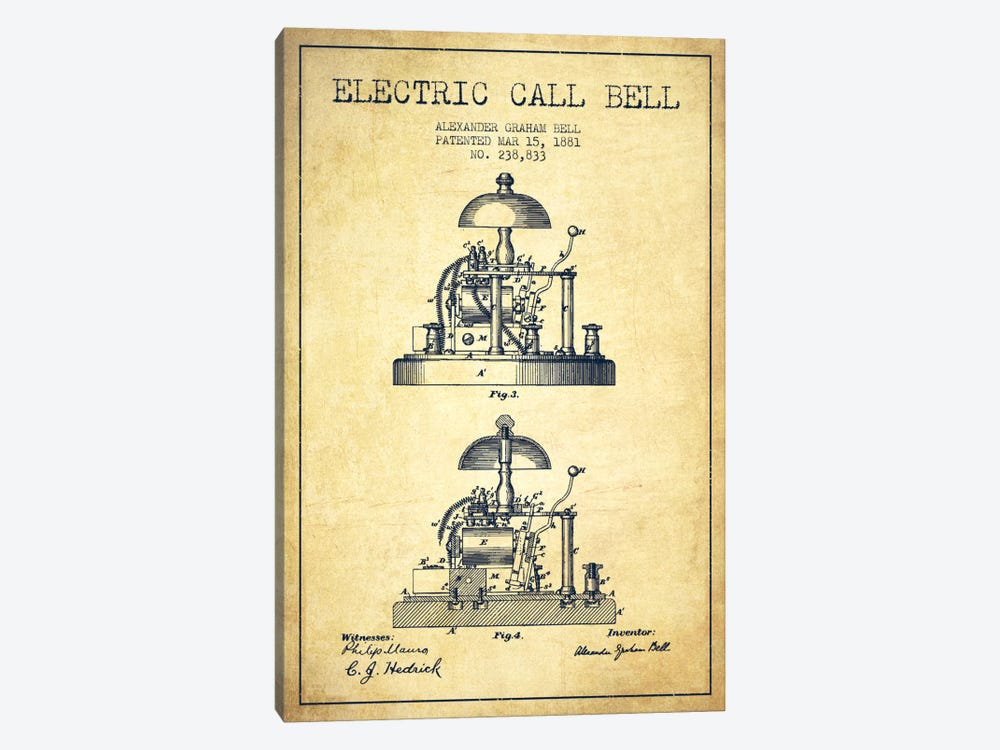 Electric Alex Bell Vintage Patent Blueprint by Aged Pixel 1-piece Canvas Wall Art