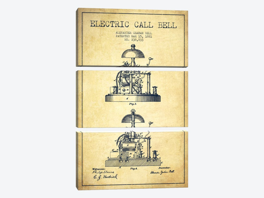 Electric Alex Bell Vintage Patent Blueprint by Aged Pixel 3-piece Canvas Art
