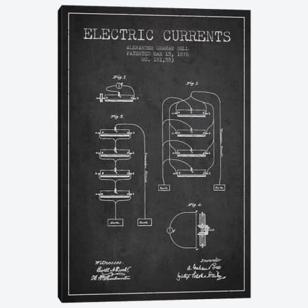 Electric Currents Charcoal Patent Blueprint Canvas Print #ADP461} by Aged Pixel Canvas Art Print