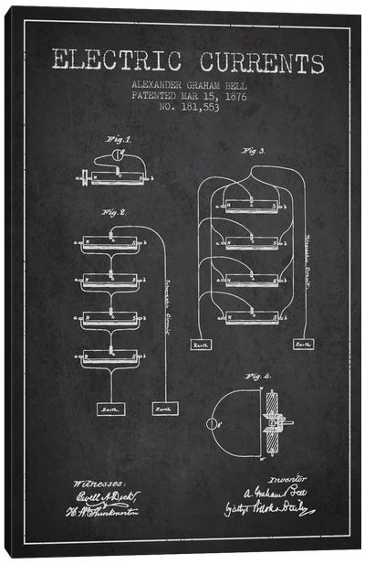 Electric Currents Charcoal Patent Blueprint Canvas Art Print