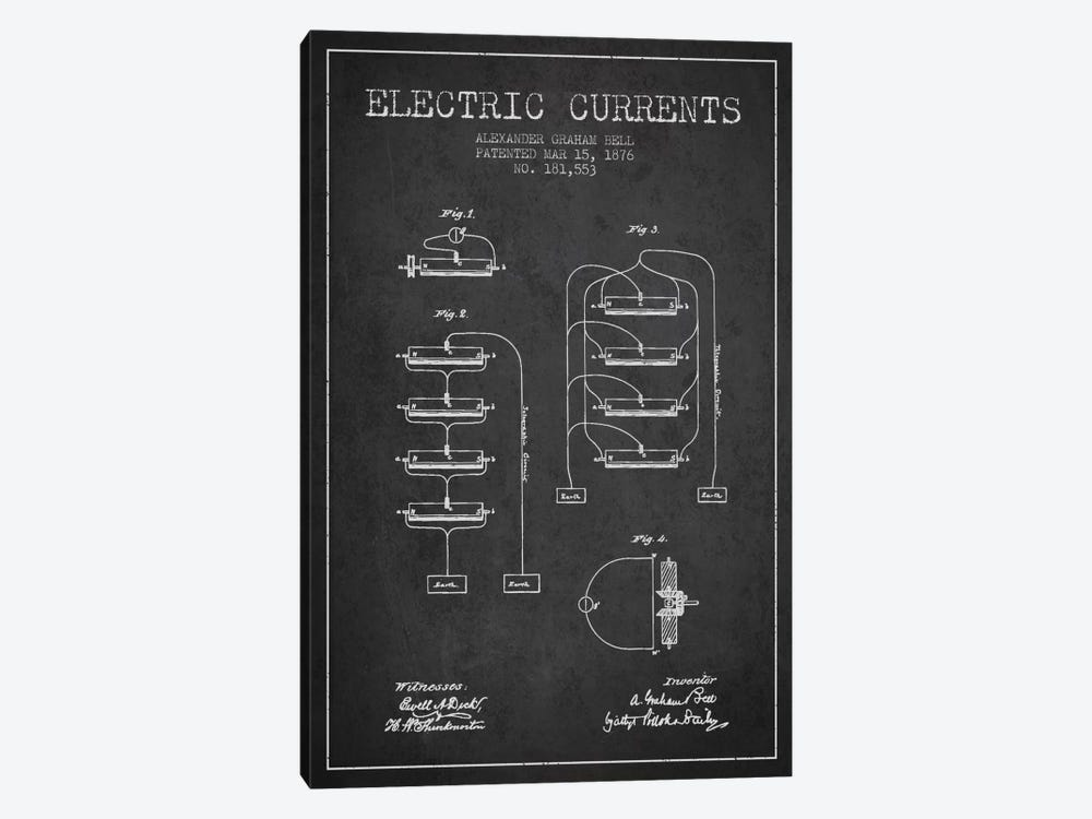 Electric Currents Charcoal Patent Blueprint by Aged Pixel 1-piece Canvas Art Print