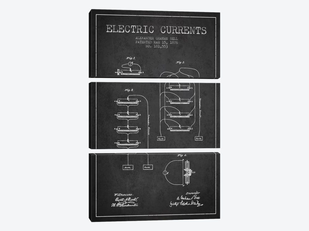 Electric Currents Charcoal Patent Blueprint by Aged Pixel 3-piece Canvas Art Print
